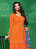 NS11504 Orange Party Wear Georgette Straight Suit