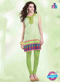 NS11156 A White Multicolor and Pale Green Designer Cotton Kurti