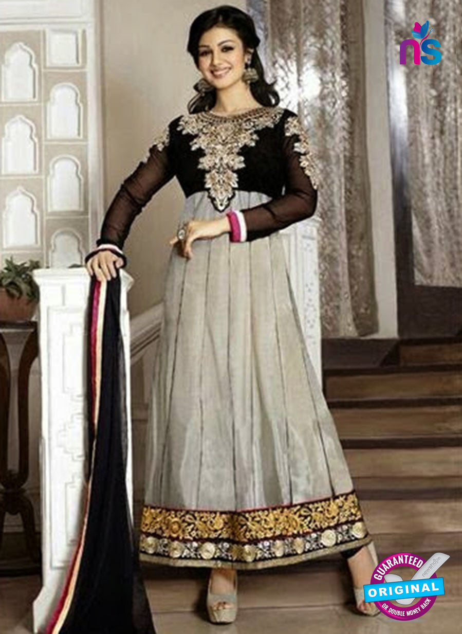 NS10119 Black and Gray Georgette Anarkali Suit