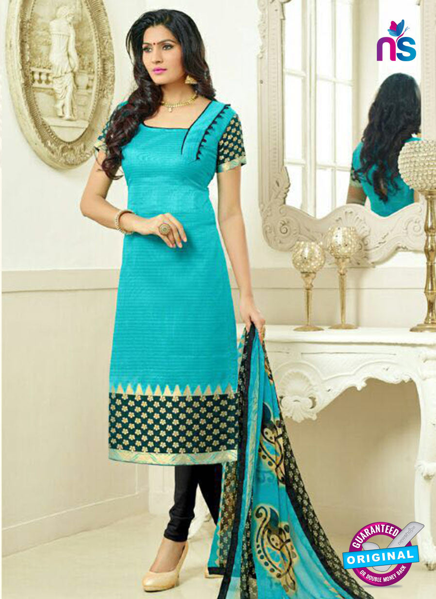 SC 13872 Sky Blue and Black Banarsai Jacquard Latest Designer Fancy Straight Suit