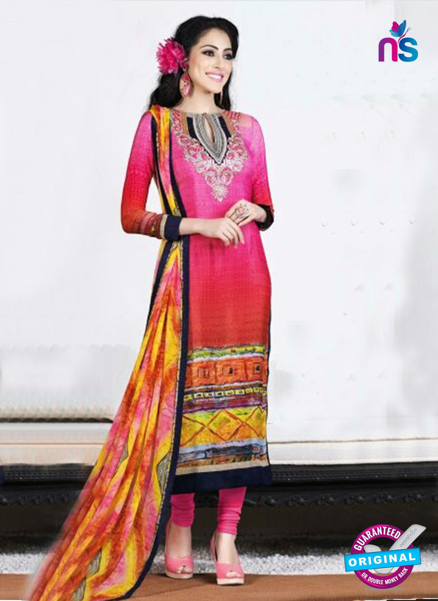 AZ 3496 Pink and Orange French Crepe Embriodery Formal Suit - Salwar Suits - NEW SHOP