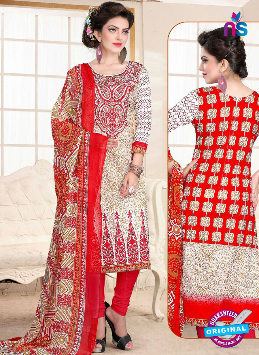 SC 13025 Beige and Orange Printed Cambic Pakistani Suit