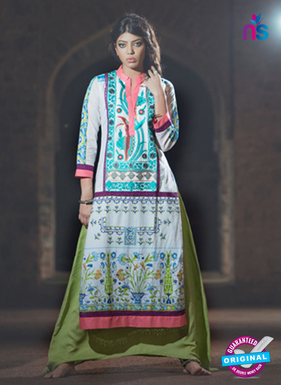 SC 13340 Blue and Multicolor Cotton Lawn  Kurti