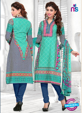 SC 12769 Green, Black and Blue Embroidered Pure Cambric Cotton Suit