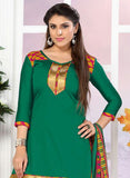NS11755  Green and Red Glace Cotton Patiala Suit