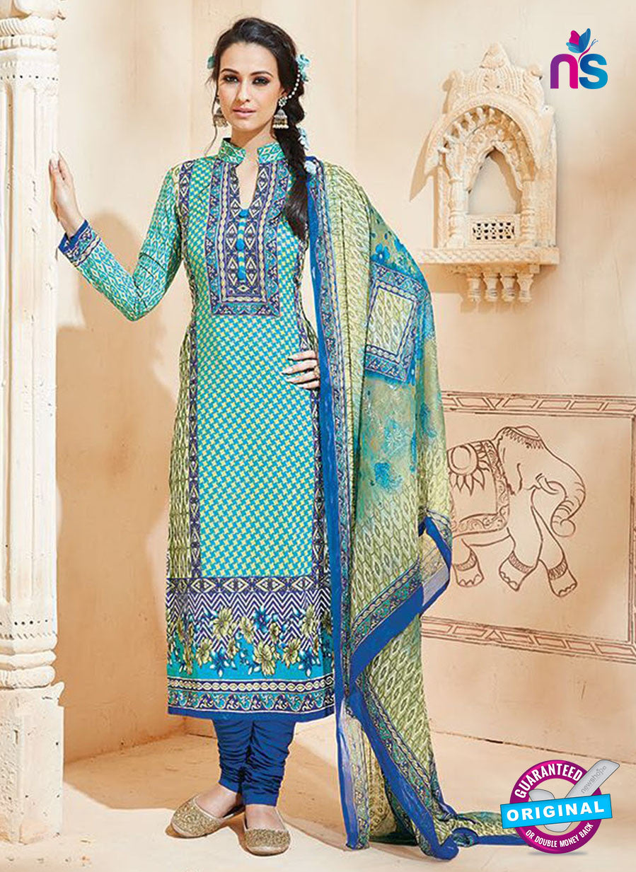 SC 13006 Blue and Multicolor Printed Cambric Cotton Straight Suit