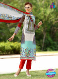 SC 13227 Red and Skyblue Silk Crape Straight Suit