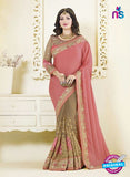AZ 3466 Brown and Pink Chiffon Wedding Wear Saree