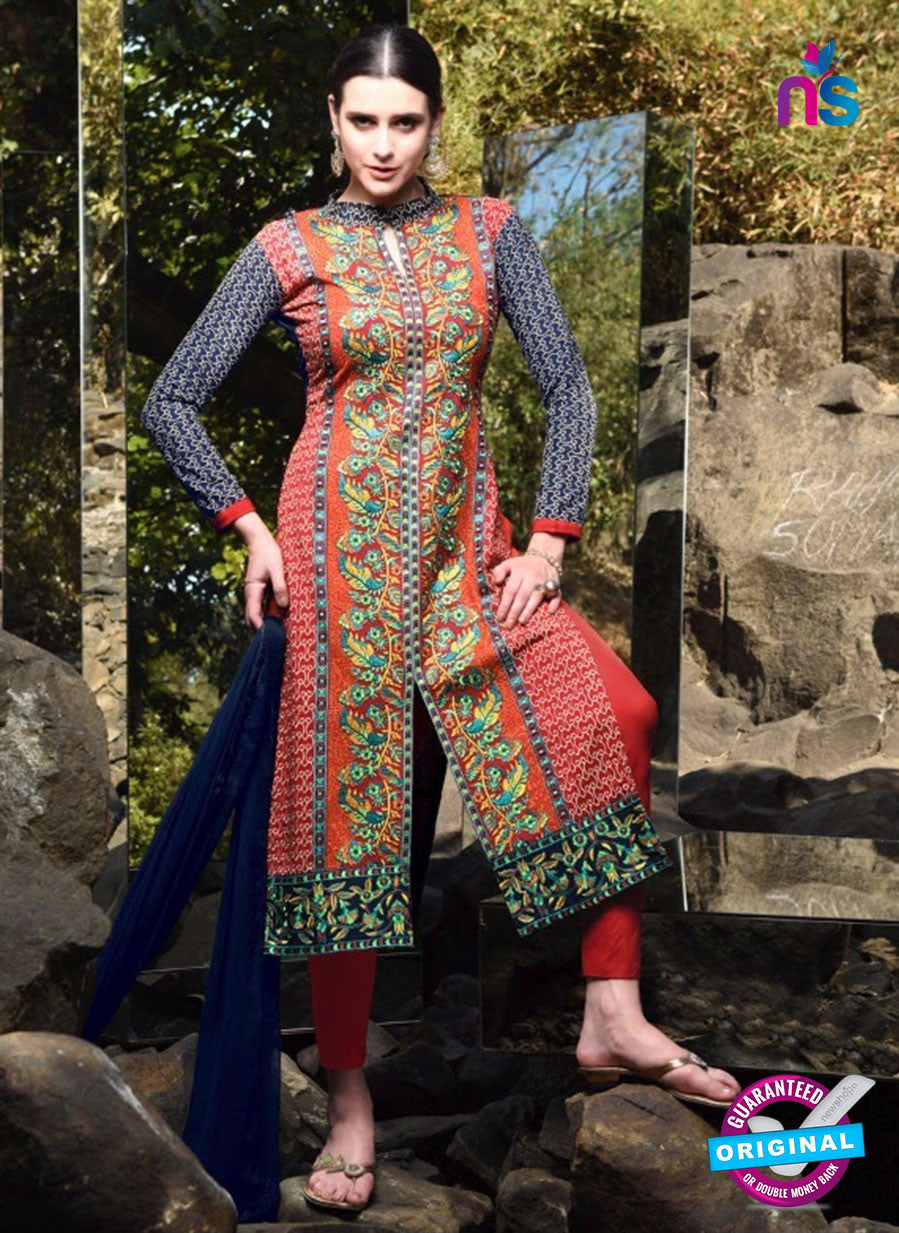 SC 12922 Blue and Red Faux Georgette Party Wear Straight Suit