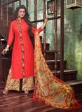 Deepsy 1008  Red & Multicolor Glace Cotton Designer Suit