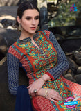 SC 12922 Blue and Red Faux Georgette Party Wear Straight Suit Online