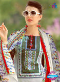 SC 13227 Red and Skyblue Silk Crape Straight Suit Online