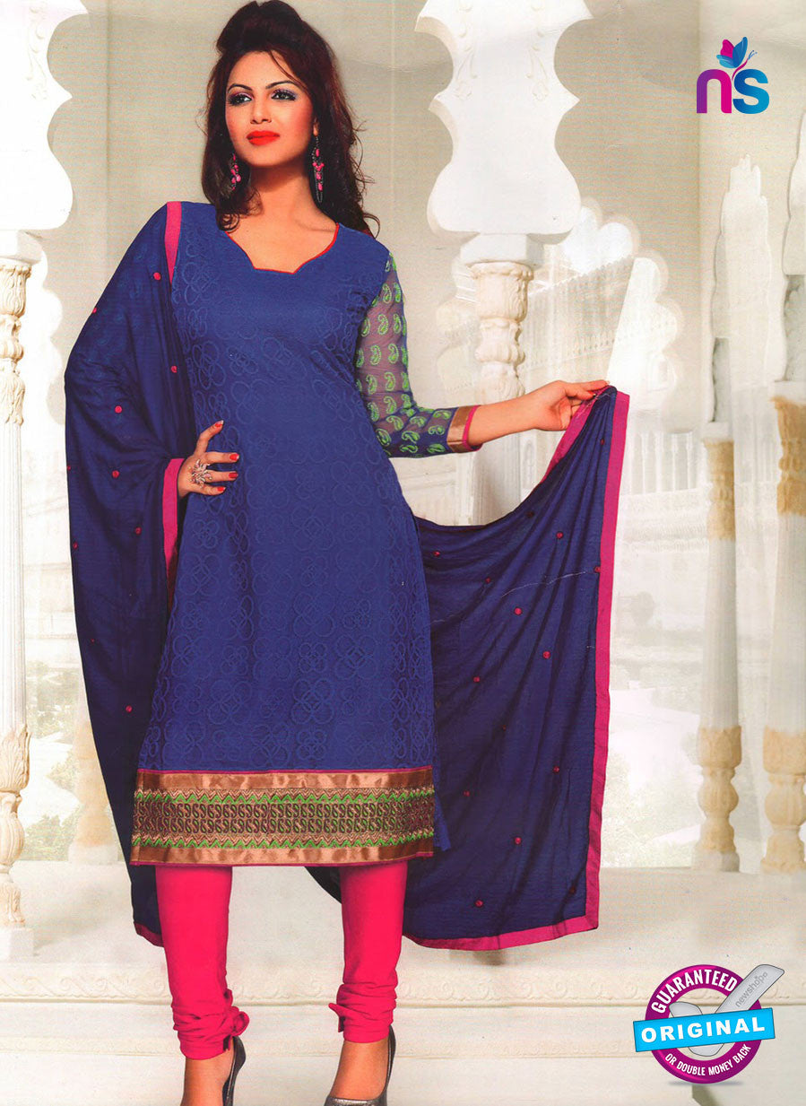 NS11036 Navy Blue and Pink Party Wear Russel Net Salwar Suit