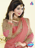 AZ 3466 Brown and Pink Chiffon Wedding Wear Saree Online