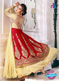 NS10649 Beige and Red Pure Gerogette Designer Suit
