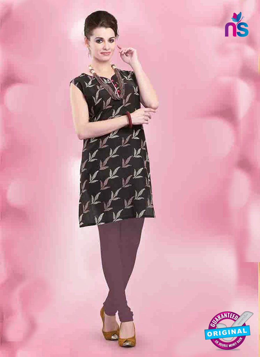 NS11157 A Black and Brown Designer Cotton Kurti Online