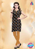 NS11158 B Black And Yellow Designer Cotton Kurti Online