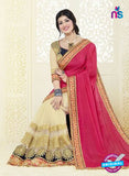 AZ 3467 Beige and Pink Chiffon/Net Wedding Wear Saree