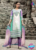 NS 124506 White and Purple Printed Cotton Straight Suit