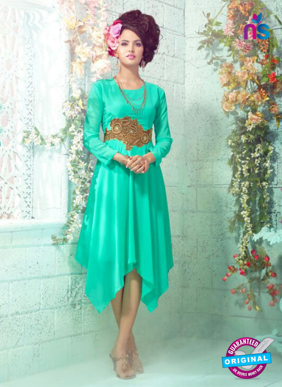 SC 12997 Sea Green Embroidered Georgette Party Wear Kurti