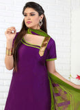 NS11756  Purple and Green Yellow Glace Cotton Patiala Suit