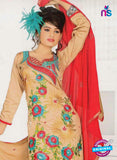 NS10841 Beige and Red Georgette Chudidar Suit