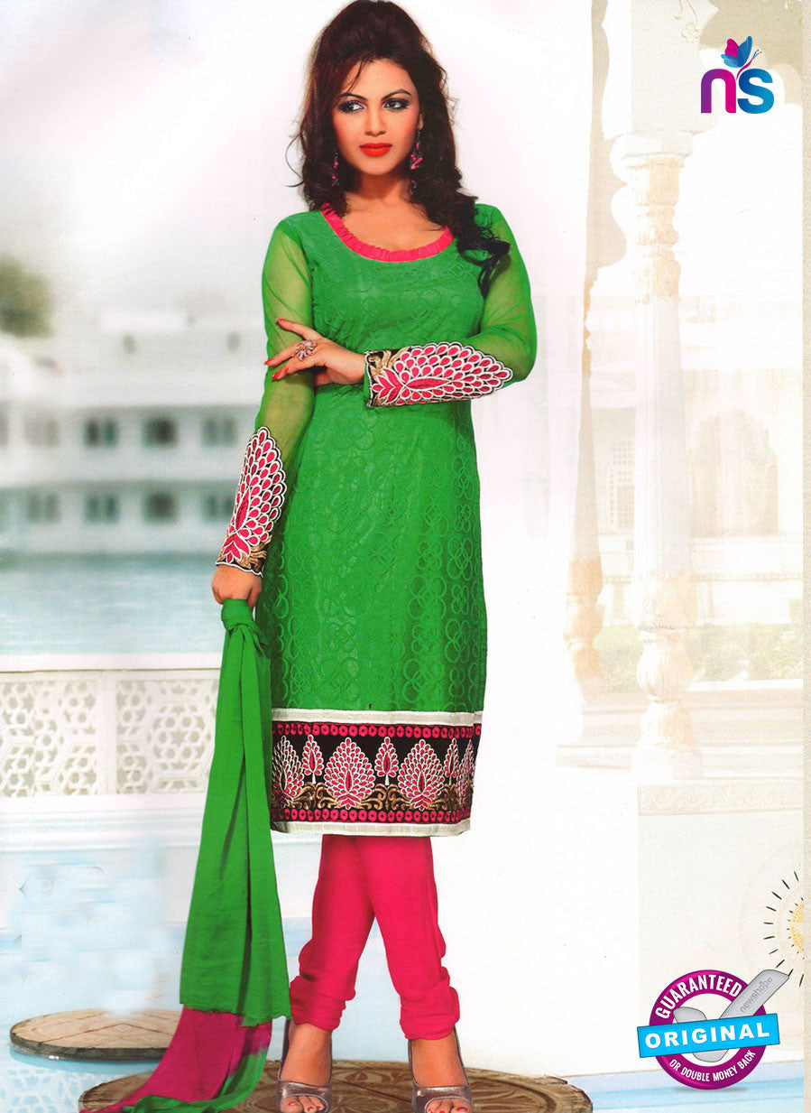 NS11037 Green and Pink Party Wear Russel Net Salwar Suit