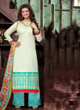 Deepsy 1009  White & Sky Blue Color Glace Cotton Designer Suit