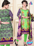 SC 13019 Green and Purple Printed Cambic Pakistani Suit
