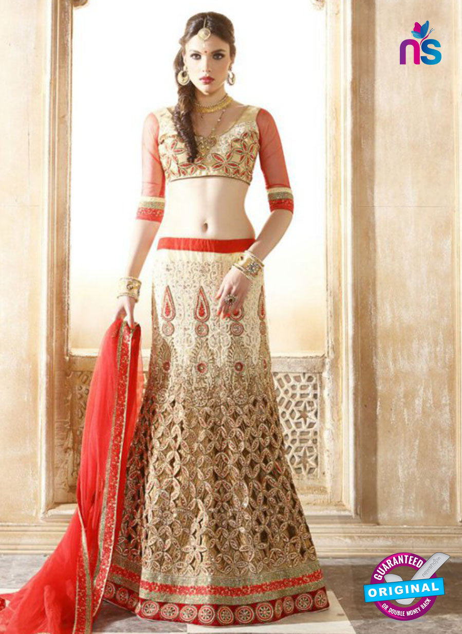 AZ 2010 Beige Net Embroidered Party Wear Lehenga