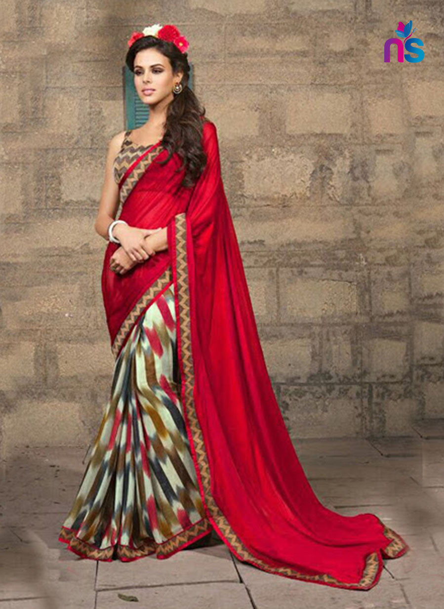 NS11323 Red and Multicolor Party Wear Georgette Saree