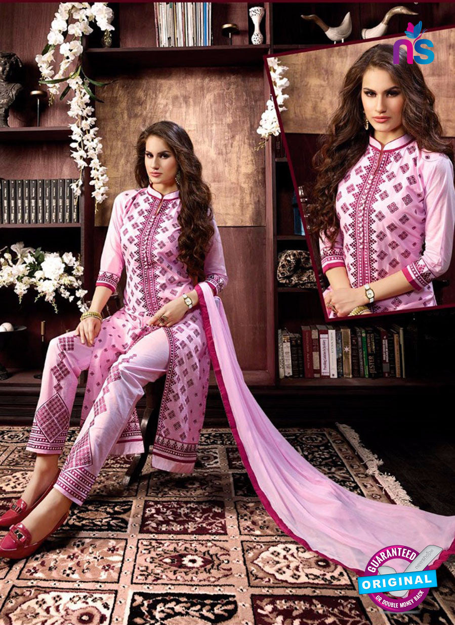 NS10958 Lavender Pink and Maroon Cotton Party Wear Straight Suit
