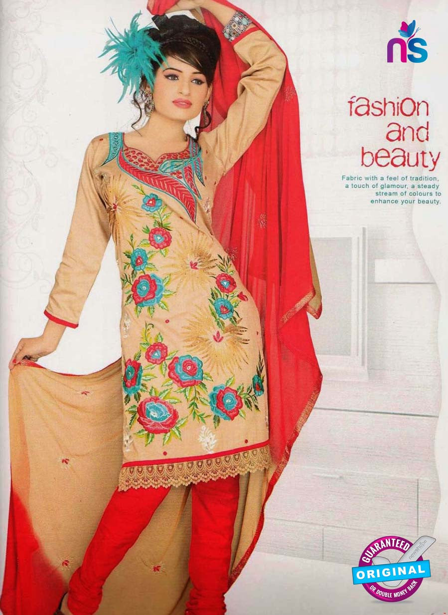 NS10841 Brown and Red Georgette Chudidar Suit