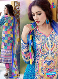 SC 13648 Blue and Pink Printed Glace Satin Cotton Designer Fancy Ethnic Exclusive Salwar Straight Suit