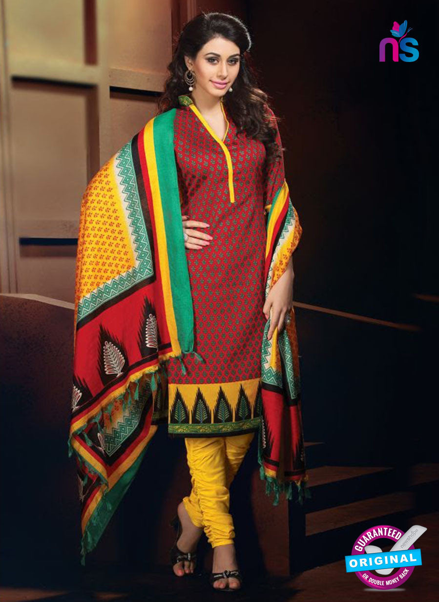 NS11199 Red and Yellow Daily Wear Heavy Banglori Printed Salwar Suit