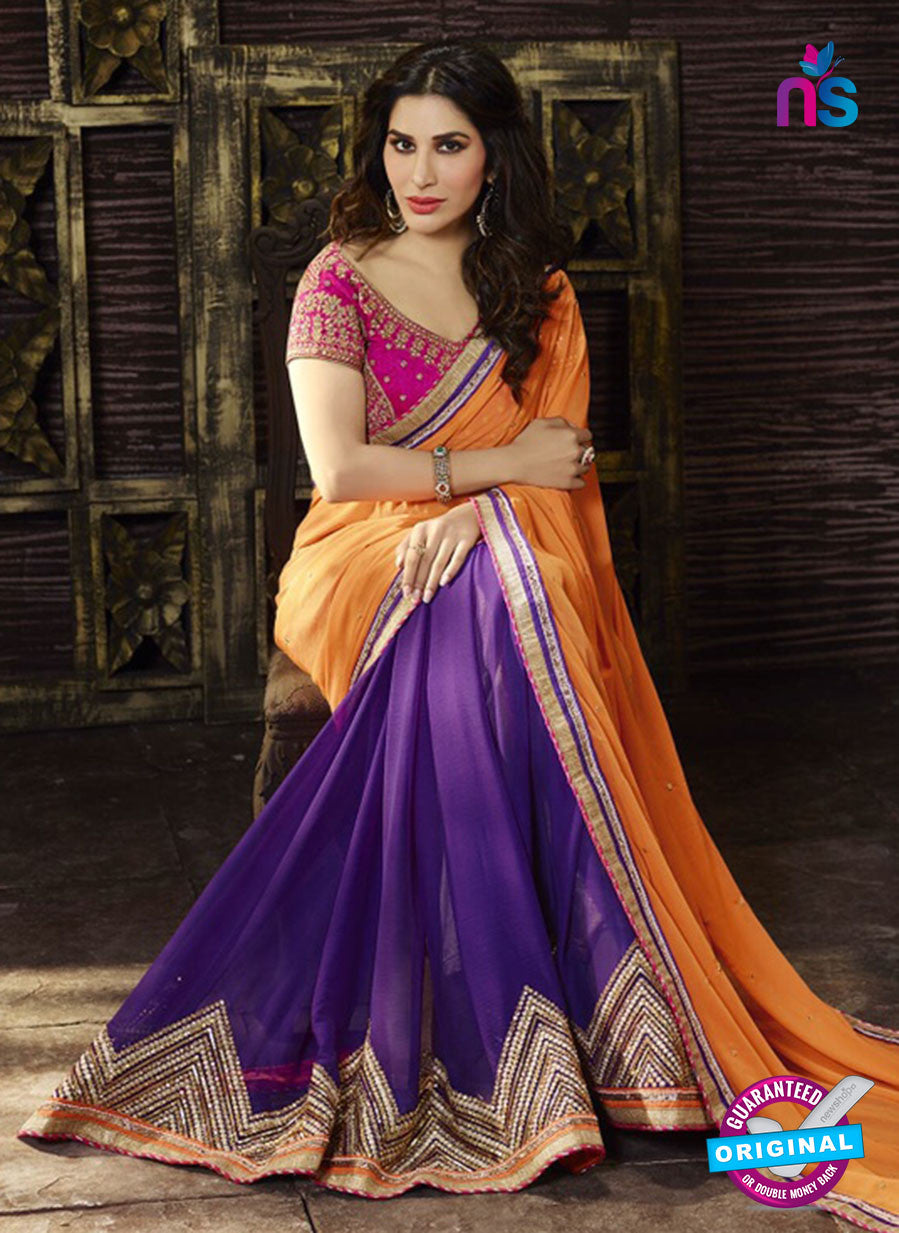 SC 13512 Orange and Purple Designer Fancy Traditional Party Wear Saree