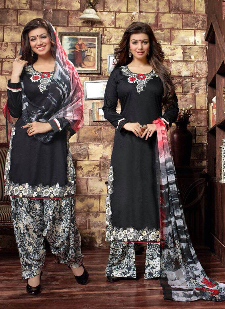 Deepsy 1010  Black Glace Cotton Designer Suit