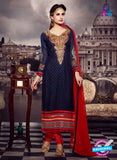 NS10443 Blue and Red Brasso Straight Suit
