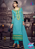 NS10444 Blue and Green Brasso Straight Suit