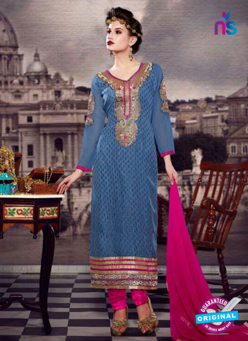 NS10446 Blue and Pink Brasso Straight Suit