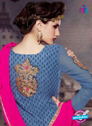 NS10446 Blue and Pink Brasso Straight Suit Online Shopping