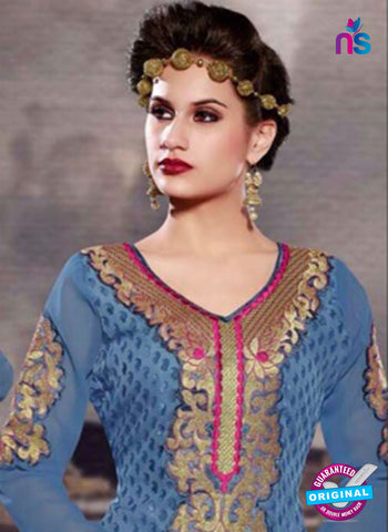 SC 13281 Blue and Pink Embroidered Brasso Suit Online