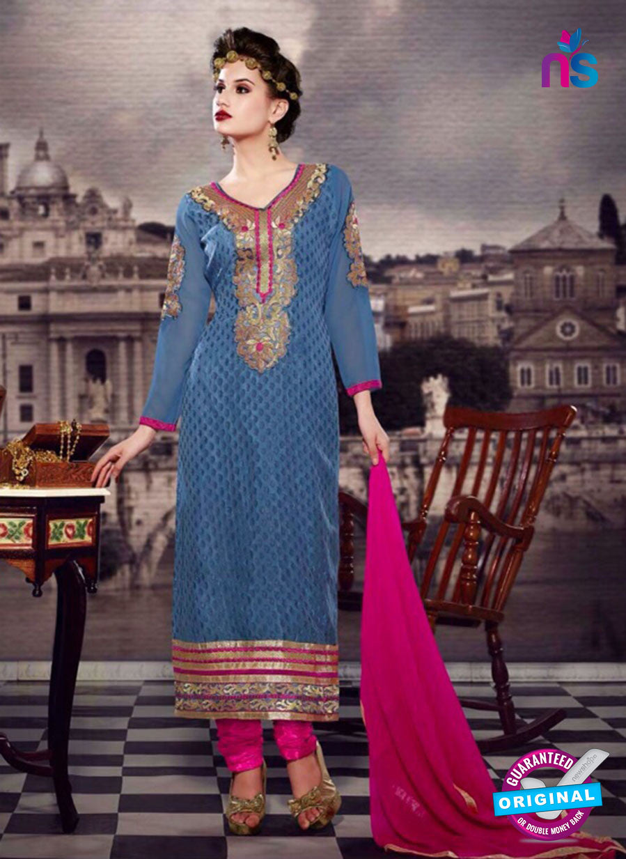 SC 13281 Blue and Pink Embroidered Brasso Suit