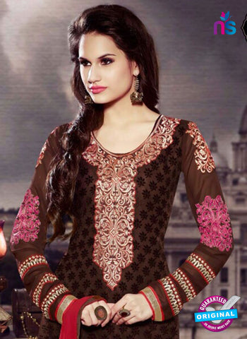 SC 13282 Brown and Red Embroidered Brasso Suit Online