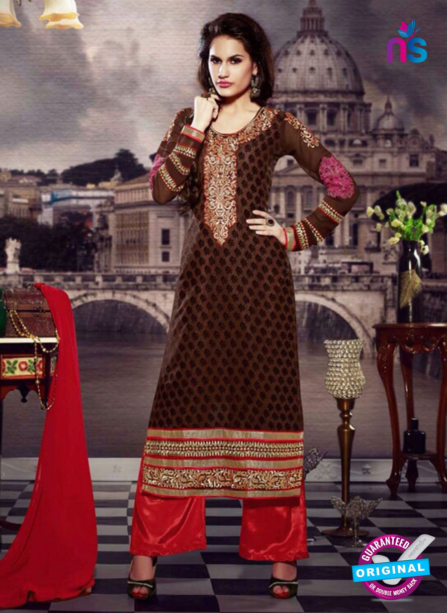 NS10447 Brown and Red Brasso Straight Suit