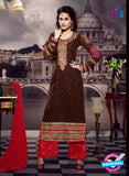 SC 13282 Brown and Red Embroidered Brasso Suit