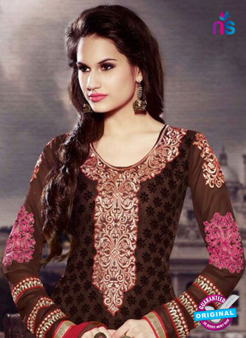 NS10447 Brown and Red Brasso Straight Suit Online