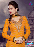 SC 13280 Orange and Brown Embroidered Brasso Suit Online