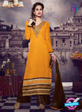SC 13280 Yellow and Brown Embroidered Brasso Suit