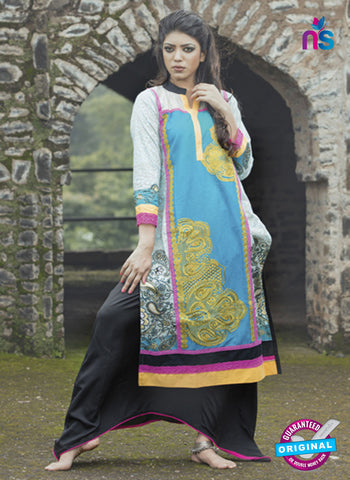 SC 13341 Sky Blue and Multicolor Cotton Lawn Kurti